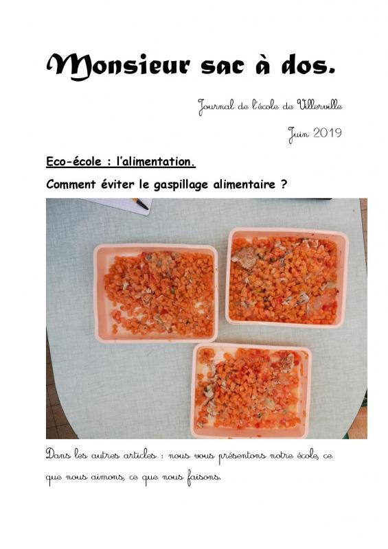 Journal le gaspillage alimentaire page 001