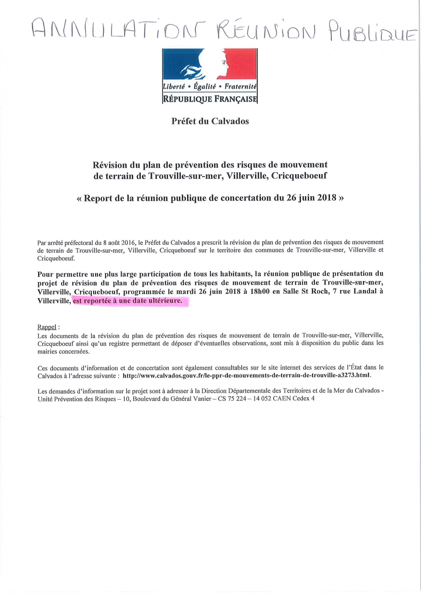 Report reunion ppr du mardi 26 mai 2018